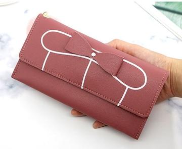 新品レザー調二つ折り長財布リボン&ファーチャーム付桃色ピンクレディース