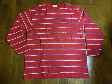 送料無料/大きいサイズ3Lコンバースロゴ入り横ストライプ赤長袖Tシャツ