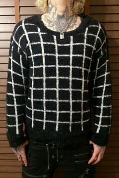 即決DEAD白黒マス目チェックニットセーター!ゴシックパンクロックモッズスタイル