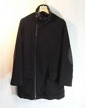 size46☆美品☆アルマーニ レザー使い 内綿入りデザインコート