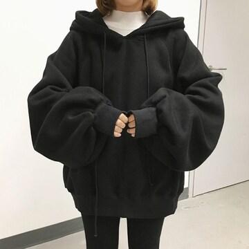 大きいサイズM-3XL*フード付*ゆったり袖*パフスリーブ*パーカー*トップス*黒