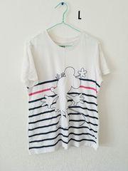 白に紺ボーダーのミニーちゃん半袖Tシャツ
