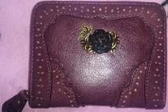 新品アナスイANNA SUI黒薔薇紫本革財布カード名刺定期小銭入れ