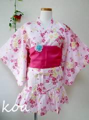【新品】帯付き浴衣ドレス�Aピンク/130cm★夏祭り・花火大会