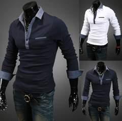 無地 メンズポロシャツ Poloシャツ 長袖  M~2XL/AK303