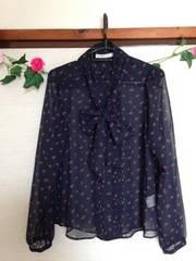 ローリーズファーム★ネイビー 花柄 シースルー ブラウス シャツ