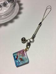 ★和 ひし形 桜と金魚のレジンストラップ 金 銀 さくら �A