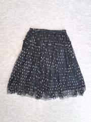 インデックスafterallシルバードット黒ペチコートスカート新品