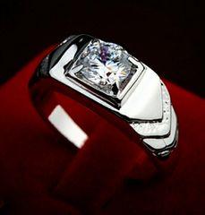 1円〜◆White sapphire0.5CT simple wedding Ring15号