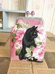 薔薇と黒猫*パール玉角がま口のタバコケース*小物入れ*ピンク