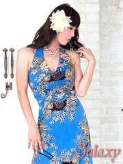6629★ジルコニアラインGOLDラメ入り和風花柄ストレッチロングドレス*ブルー