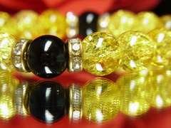 魔除け・厄除け効果♪ブラックオニキス×シトリンクラッククリスタル数珠