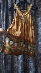 マライカ☆胸元民族調アクセ装飾エスニックチュニックノースリーブ