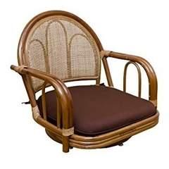 ラタン 回転座椅子 ロータイプ IM-13BR ブラウン