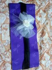 A32送込〓浴衣帯〓飾り(前飾り)白に〓造花