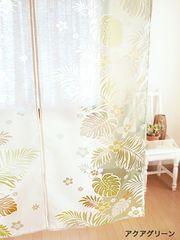 モア二のれん ハワイアン暖簾 プルメリア モンステラ hawaii