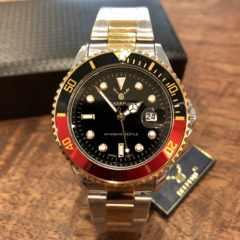 最安値!ロレックス・サブマリーナタイプ◇クォーツ メタル腕時計・黒×赤×コンビ