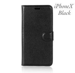 iPhoneX 手帳型ケース レザー +液晶フィルム カード入れ 黒色