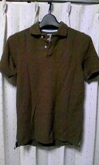 細身タイト ストレッチ 半袖ポロシャツ Sサイズ 無地 焦げ茶色・ダークブラウン ロック
