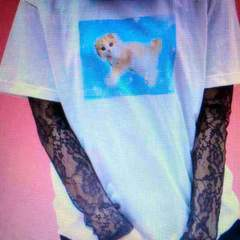 WEGO・ゆめかわネコフォトプリントTシャツ。サックス