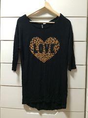 美品 H&M レオパード柄 七分袖 Tシャツ 黒ブラック レディース34