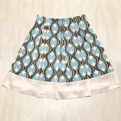 【美品】膝丈ビッグドット柄スカート/L/オフ白/KLEIN PLUS+/水色
