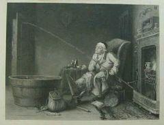絵画 銅版画 T.レーン筆『熱中する人』T.レーンの代表作です