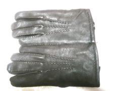 わけありタグ無し鹿革製裏地ニット手袋23(S)〜24(M)ブラウン