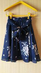 上品なフレアスカート☆ブルー&花柄 S