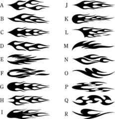 ファイアーパターン 黒 小 20センチ 2枚組