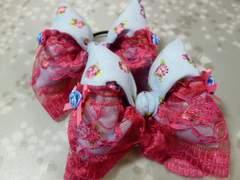 ハンドメイド★水色パンジー柄リボンゴム2つセット