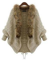 バットスタイル カーディガン風 ニットセーター 襟 偽狐毛付き