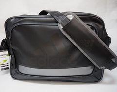 adidas アディダス ラバー エナメルバッグ ショルダーバッグ L黒