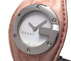 美品正規グッチ時計レディース104グッチシマピンクレザーGGバンデュー腕時計GUCCI