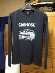 美品 ユニクロ プリント長袖Tシャツ ロンT Sサイズ 細身 黒色×白 車 アメリカ ロック