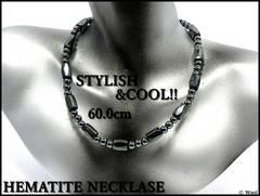 魅惑の輝/ヘマタイト/磁気ネックレス/60cm/ブラックGray/アンクレット,ブレス可/nth00