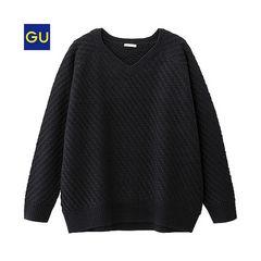 新品GU Vネックボリュームセーター黒XL★ユニクロ FOEVER21系