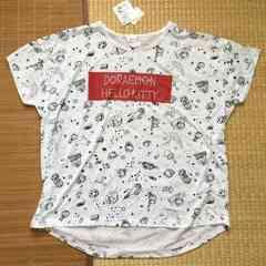 定形外込。ハローキティ&ドラえもんイラスト柄変形Tシャツ白L