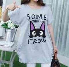 新品★3L対応★ロング丈ネコprint半袖Tシャツ★グレー