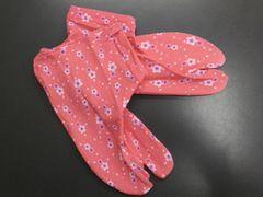 カジュアル着物きもの&卒業式袴に ストレッチ柄足袋ピンク地桜小桜