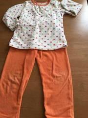 美品!!ユニクロドット柄オレンジフリースパジャマ!