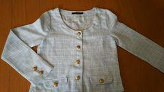 レディース ジャケット 水色 M 薄手 金ボタン 入学式 入園式 フォーマル ラメ