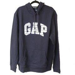 新品L★GAP紺色星条旗ロゴ裏起毛パーカー