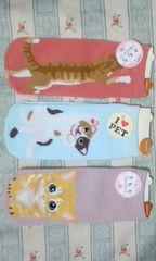 新品猫ネコキャット靴下3足セットトラ猫三毛猫ソックス