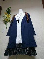 ★新品タグ6L★七部袖★重ね着風チュニ