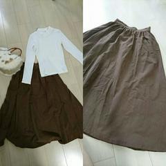 ブラウンフレアスカート サイズM