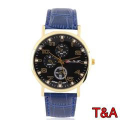 腕時計 時計 アナログ レザー 革ベルト 金フレーム ウォッチ 青
