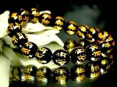 金彫守り本尊十二支七種梵字オニキス黒瑪瑙§10ミリ数珠