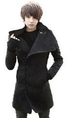 メンズ アーバン スタイル ラシャ 織り ウール コート 黒