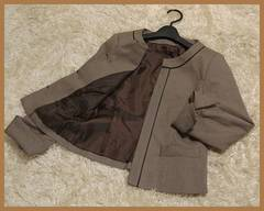 【即決】千鳥格子ノーカラージャケット6502☆ブラウン系/11AR